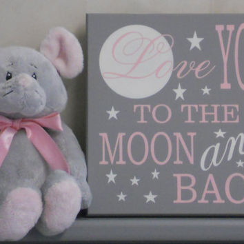 I Love You To The Moon And Back Wall Art best to the moon and back baby nursery products on wanelo