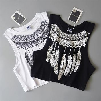 2017 New Fashion Women Sleeveless Bustier cool feather Print Crop Top Summer Casual Women white cotton Tops Vest Tank Tops