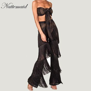 NATTEMAID Brand summer lace women sets 2 pieces New  long pants suit Strapless tops Tassel trousers Sexy holiday beach wear