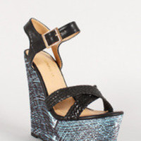 Shoe Republic Abstract Cross Strap Slingback Platform Wedge