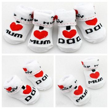 Free Baby I Love Mom and Dad Socks