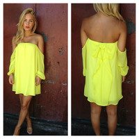 Neon Yellow Off-Shoulder Bow Dress