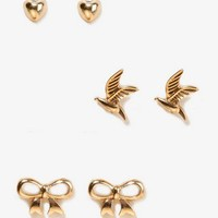 Dove & Heart Stud Set | FOREVER 21 - 1021910205
