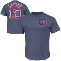 Majestic Starlin Castro Chicago Cubs Throwback Name and Number T-Shirt - Navy Blue