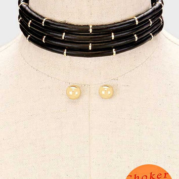 "12"" multi strand faux leather cord choker collar bib necklace .50"" earrings"