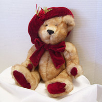 Rich Mink Faux Fur Teddy Bear Brown Plush Fancy Attired with Valentine Red Velvet Hat and Bow