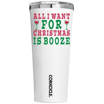 Corkcicle 24 oz All I Want for Christmas is Booze on White Tumbler