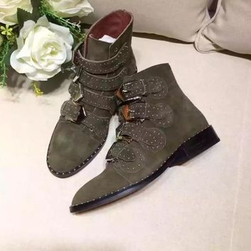 GlVENCHY  Trending Men Women Black Leather Side Zip Lace-up Ankle Boots Shoes High Boots