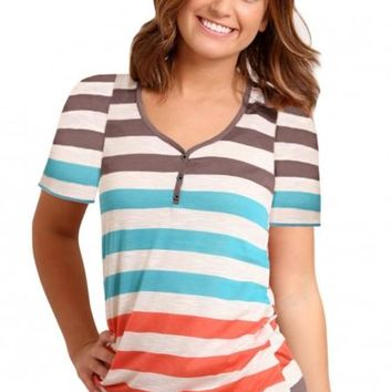 Casual Sky Blue Striped Henley T Shirt