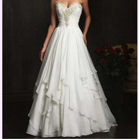Hand-beaded sweetheart halter strapless bridal wedding dress sleeveless bridesmaid dress formal evening dress