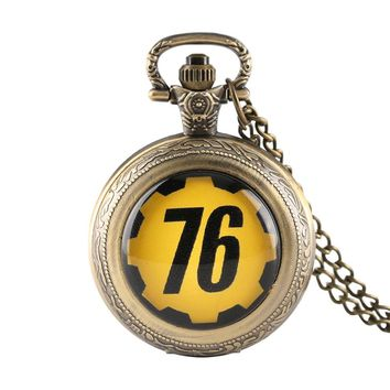 Fallout 76 Theme Games Watches Full Hunter Quartz Pocket Watch Necklace fallout 4 Game Fans Souvenir Wathes Men with Box Gifts