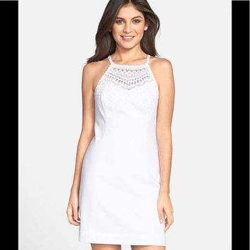 Lilly Pulitzer Crochet Lace Shift Dress In Pearl White