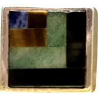 Vintage 1960s Men's Mid Century Minimalist Fine 950 Sterling Silver Jade, Onyx, Iolite, Cat's Eye Artisan Crafted Inlay Ring Currently a US Size 18