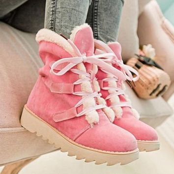 New Pink Round Toe Fashion Ankle Boots