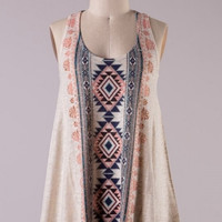 Sleeveless Aztec Print Knit Tank Top
