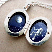 Silver Locket, Oil-Painted Miniature Astronaut and Moon, Stars and Galaxy Adventure Escape
