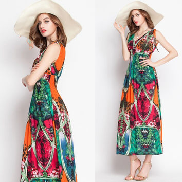 Print Bohemia Vacation Prom Dress Beach One Piece Dress [6048618305]