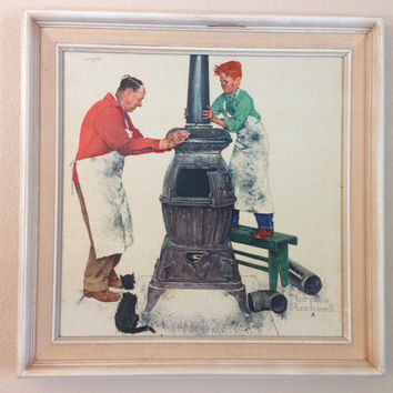 Norman Rockwell- The Apprentice Vintage Framed Oil Painting
