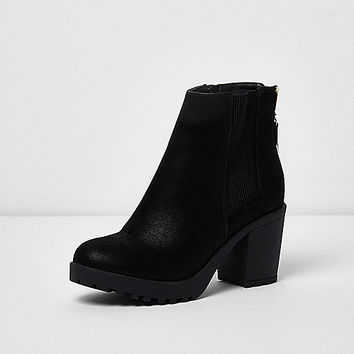 Black zip back heeled boots - Boots - Shoes / Boots - women