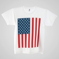 2011spus - US Flag Print Power Washed Tee