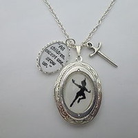 PETER PAN FLYING SILHOUETTE SILVER LOCKET & GROW UP QUOTE SWORD CHARMS NECKLACE