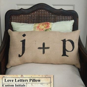 Love Letters Burlap Pillow  Personalize Custom Monogram Pillow