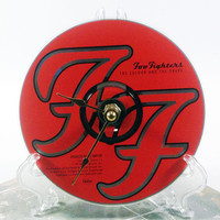 CD Clock, Desk Clock, Wall Clock, The Foo Fighters, Recycled Music Compact Disc, Upcycle, Battery, Wall Hanger & Stand ALL INCLUDED