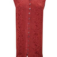 Womens Gypsy Dress Red Embroidered Button Front Sleeveless Beach Dresses Xl