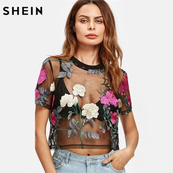 SHEIN Flower Embroidered Mesh Blouse Summer Womens Tops and Blouses Black Round Neck Short Sleeve Sexy Crop Top