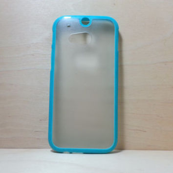 HTC One M8 Case Silicone Bumper and Translucent Frosted Hard Plastic Back - Turquoise