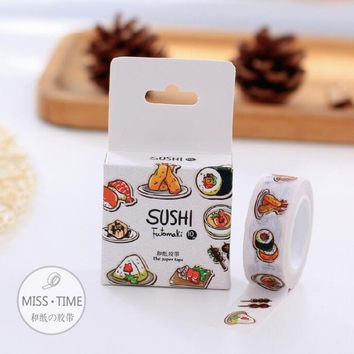 JC309 Novelty Sushi Futomaki Motif Decorative Washi Tape DIY Scrapbooking Masking Tape School Office Supply Escolar Papelaria