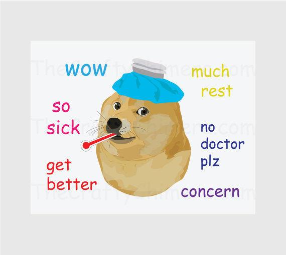 Get Well Doge Printable Card From Thecraftychimera On Etsy