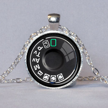 CAMERA DIAL PENDANT Photography Pendant Silver Black Teal Camera Necklace Photographer Gift Camera Jewelry