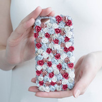 iPhone 6 case, handmade phone case, gift wrapping - flowers for her, floral case