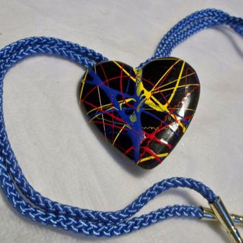 Splatter Paint Heart, Bolo or Slide Buckle, Heart Shaped, Black Base with Red, Blue, Yellow, Green, Splatter Paint Graphics