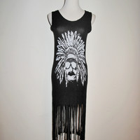 Beulah Style Graphic Knit Jersey Fringe Tank Dress S