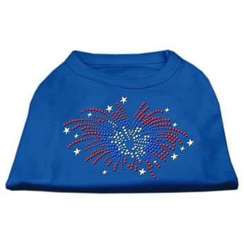 Fireworks Rhinestone Dog Shirt Blue