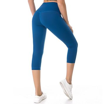 NWT 2018 Woman Capris sports gym crop sexy lulu gym Tummy Control leggings super quality 4 way stretch fabric size us4-us12
