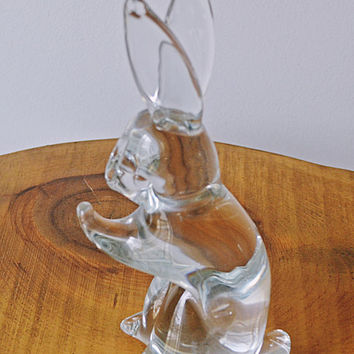 FM Konstglas Bunny, Marcolin Glass, Glass Rabbit, Swedish Art Glass