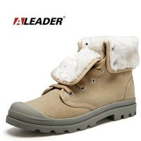 Aleader New Canvas Unisex Military Boots Combat Women Snow Boots Winter Fashion Outdoor Fur Shoes For hombre Ankle botines mujer