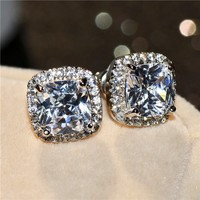 Manure Square Cut White Cz Diamond Stud Earrings