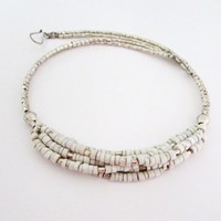 Antique White Bib Necklace, Beaded Ivory Silver Bohemian Ecofriendly Jewelry