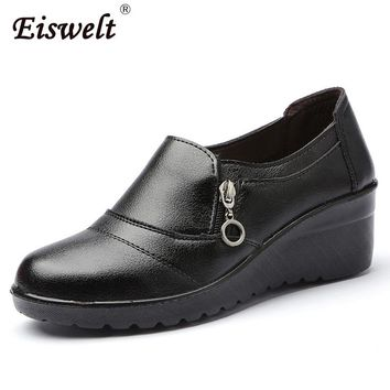 EISWELT Women Zip Ankle Boots Heels Women Soft Leather Platform Shoes Female Wedges Shoes#ZQS185