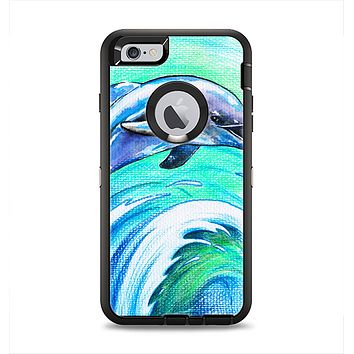 The Pastel Vibrant Blue Dolphin Apple iPhone 6 Plus Otterbox Defender Case Skin Set