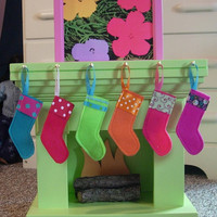 Christmas Stockings with Stocking Hook Rack for American Girl Dolls or 18-inch Dolls