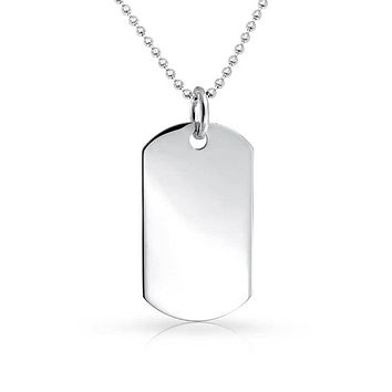 Army Dog Tag Pendant Necklace Sterling Silver Shot Bead Ball Chain