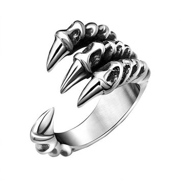 2018 New Silver Color Metal Ring Jewelry for Men Women  Stainless Steel Dragon World of Warcraft Rings Jewelry Feminino