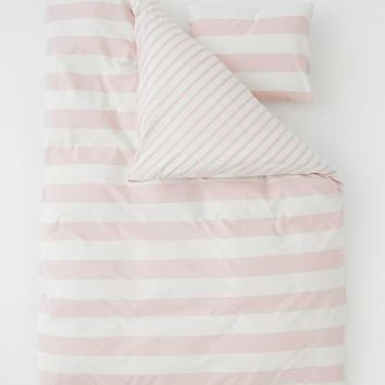 Striped Duvet Cover Set - Pink/natural white - Home All | H&M US