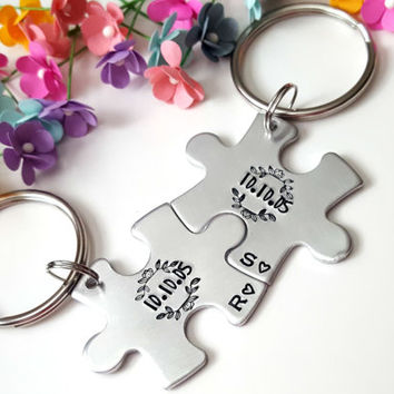 Anniversary Gifts for Boyfriend, Personalized Keychain, Long Distance Boyfriend Gift, 1 Year Anniversary Gift for Him, Puzzle Piece Keychain