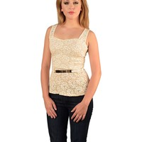 SLEEVELESS FLORAL LACE TOP WITH SLEEK BELT EMBELLISHMENT-ID.29814